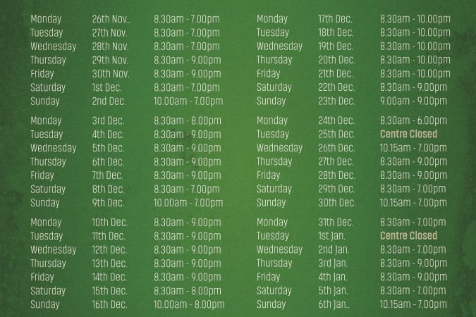 Christmas Opening Hours December 2018