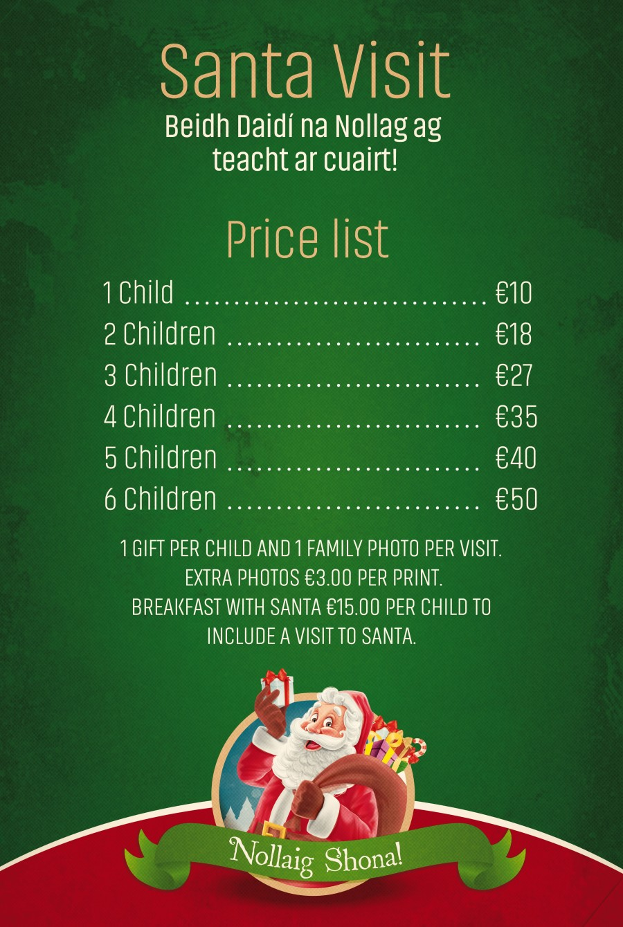 Santa & Breakfast with Santa Price List December 2018