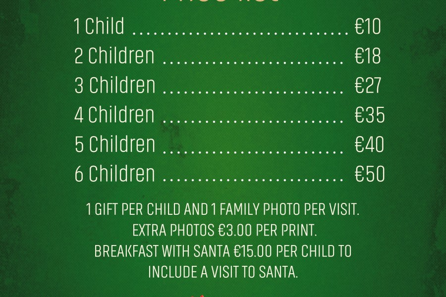 Santa & Breakfast with Santa Price List December 2018